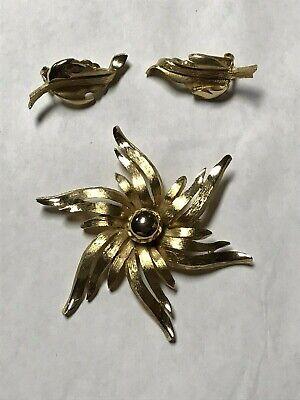 Vintage Coro Gold Toned Pin Brooch Clip On Earring Set Floral Leaf Design Purple Rhinestones On Original Card Used
