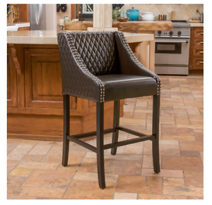 Image Is Loading New Brwn Bonded Leather Bar Height Stool Padded