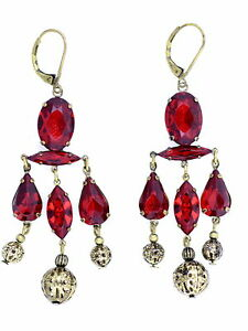 Stunning vintage retro style bronze and red crystal chandelier image is loading stunning vintage retro style bronze and red crystal aloadofball Gallery