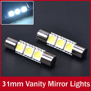2x white 3 smd 5050 led bulbs for 6641 car vanity mirror lights sun visor lam. Black Bedroom Furniture Sets. Home Design Ideas