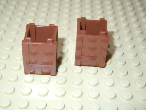 Lego Reddish Brown Container Crate Box 2x2x2 2 pieces  NEW!!!