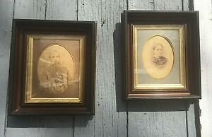 Pair Of Antique Shadow Box Picture Frames With Gilded Liner Walnut 15 X 13