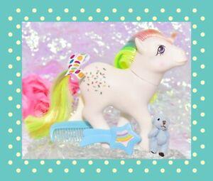 My-Little-Pony-G1-Vtg-Rainbow-Ponies-CONFETTI-Glitter-Original-Brush-Comb