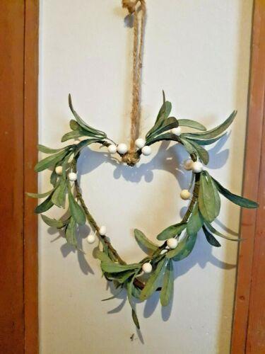 Hanging Mistletoe Heart Hanging Heart Christmas Decoration Faux Mistletoe