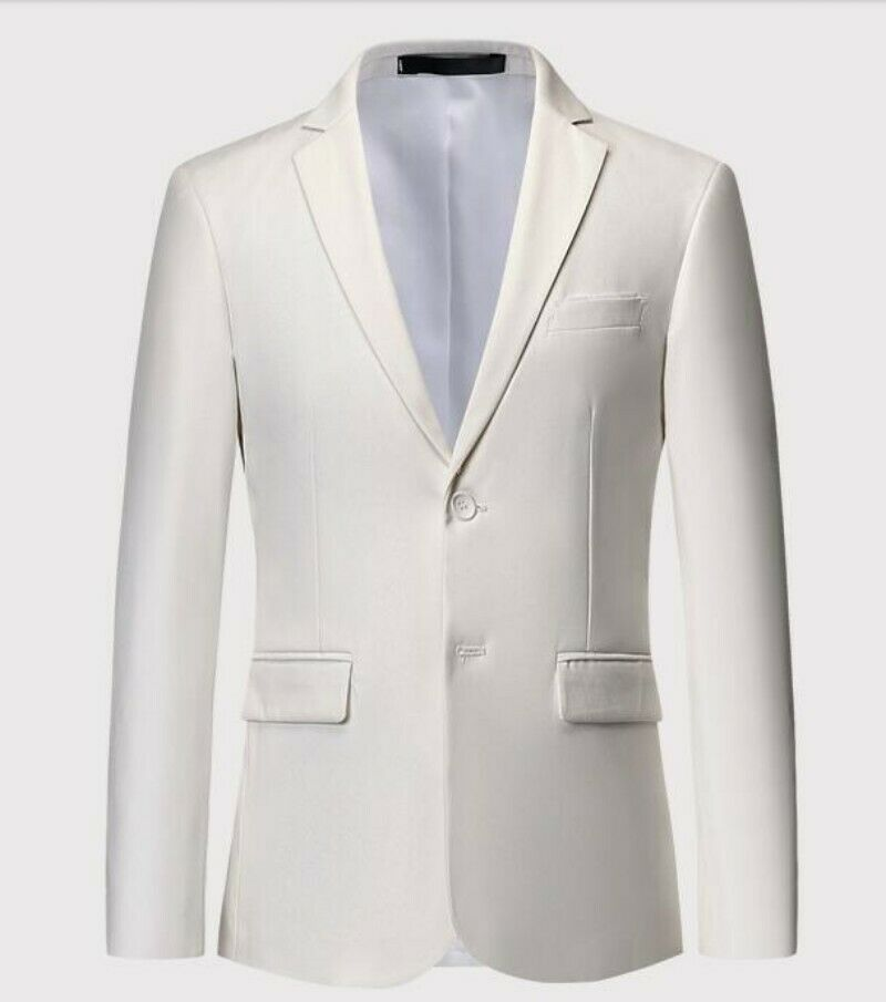 Mens Lapel Slim Fit Long Sleeve Single Breasetd Business Dress Formal Suit Coat