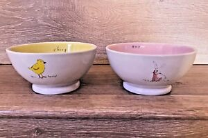 Rae-Dunn-Magenta-Easter-Bowls-Set-of-2-Chick-Bunny-Pink-Yellow-Chirp-Hop-NEW