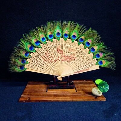 Japanese Peacock Wooden Carved Feather Hand Folding Fan Favor Retro Gifts Green