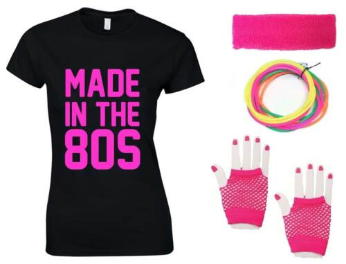 MADE IN THE 80s Ladies T-Shirt /& Accessories Fancy Dress Costume Outfit Neon
