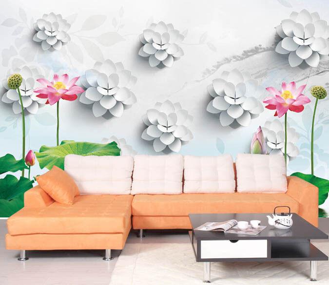 3D Carving Lotus Leaf Paper Wall Print Decal Wall Wall Murals AJ WALLPAPER GB