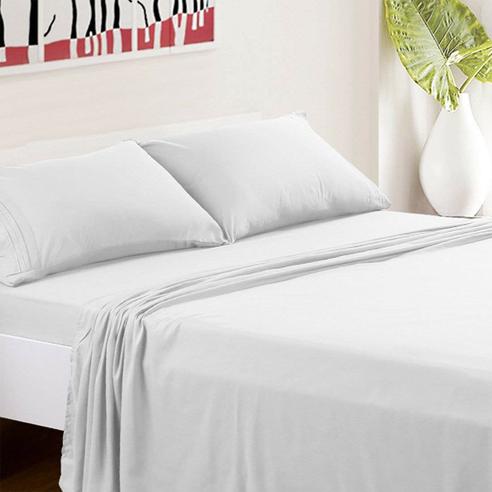 4 Piece Hotel Luxury Soft Premium Wrinkle&Fade Resistant Bedding Bed Sheets Set