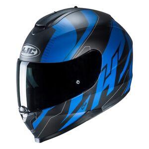 NEU-HJC-Helm-C70-Boltas-schwarz-blau-matt-Gr-XL-61-62-mit-Sonnenblende