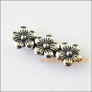 8-New-3Holes-Flower-Bars-Connectors-Charms-Tibetan-Silver-Spacer-Beads-9-5x26mm