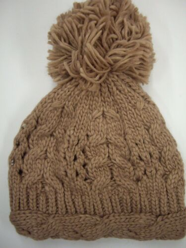 New Look Blush Cable Knit Beanie Hat with Extra Large Pom-Pom