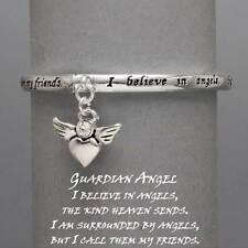 Guardian Angel Charm Stretch Bracelet SLVR Believe Friend Positive Quote Jewelry