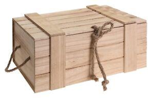 Holzkiste Mit Deckel Geflammt Vintage Alt Truhe Natur Box Behälter Weinkiste Ebay