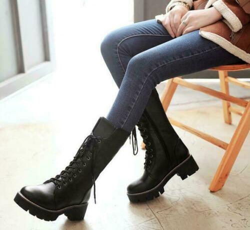 Punk Women/'s Platform Chunky Heel Mid Calf Boots Lace up Riding Motorcycle Boots