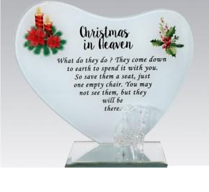 Noël au paradis Memorial Ornements en Verre Plaque Avec Chaise Funeral grave NEUF