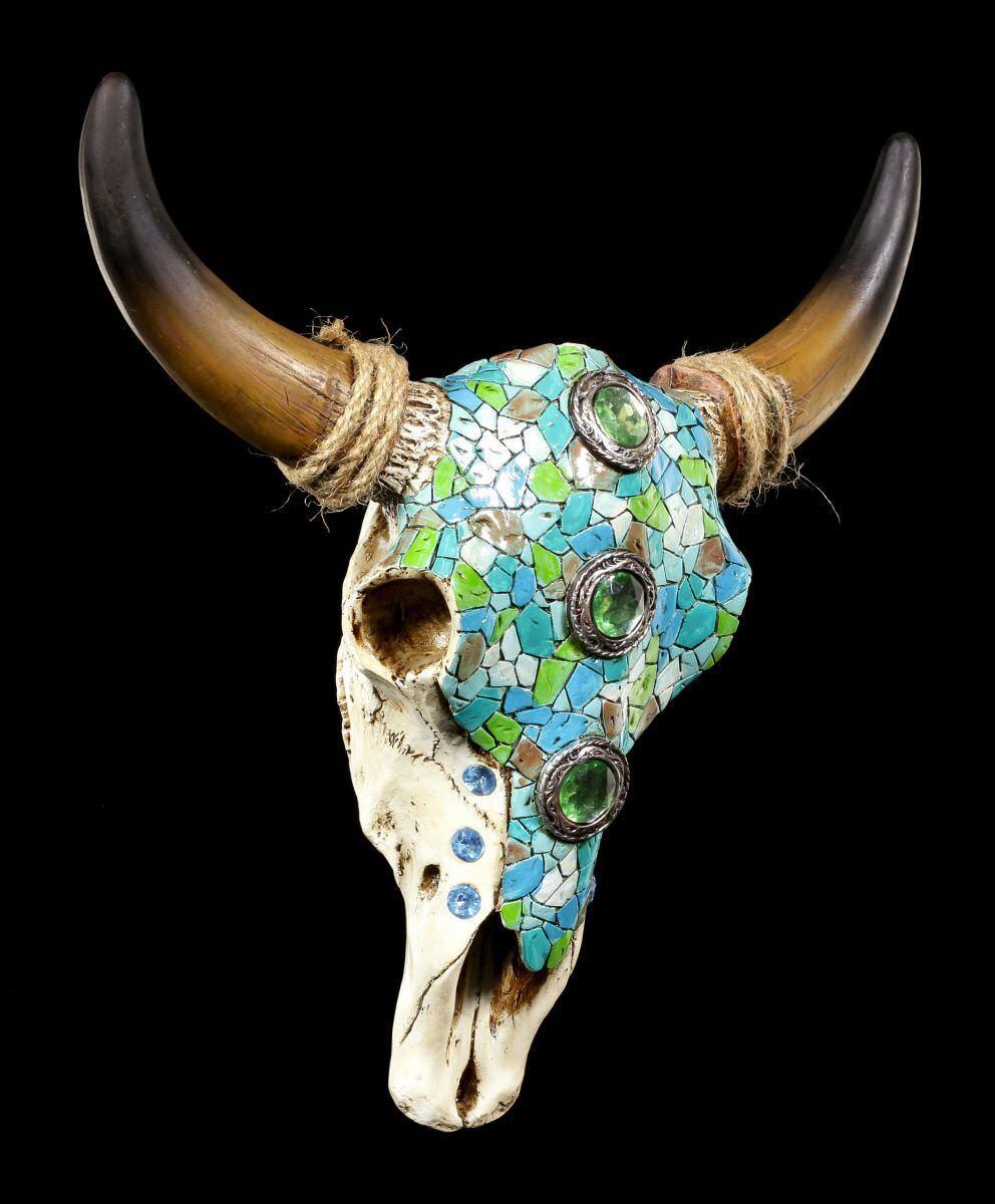 Wandrelief - Rinderschädel mit Mosaik - Bullenschädel Western Indianisch Deko    New Style