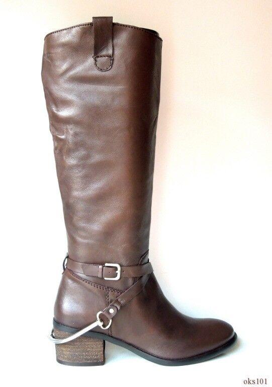 New STEVE MADDEN 'Sturrip' dark brown leather HARNESS STRAP tall  BOOTS 5.5