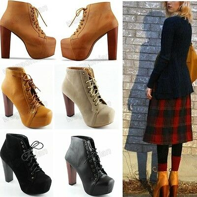 Fashion Women Ladies 4 Color Lita Platforms High Heels Lace Up Ankle Shoes Boots