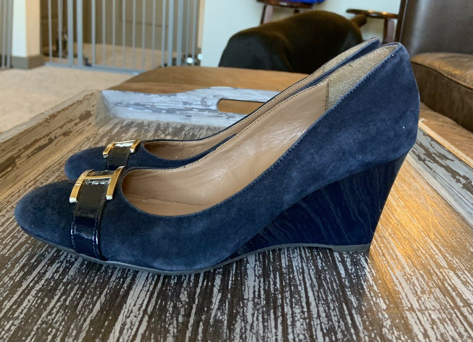 Tommy Hilfiger Twreda Faux Suede Blue Wedges with… - image 5