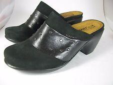SZ US 5/ 36 NEW NAOT Black Leather /suede heel Mules Slides Clogs Women's