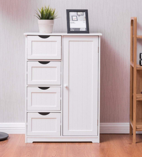 White Cottage Bathroom Storage Cabinet Cupboard Drawers Kitchen Laundry Pantry For Sale Online Ebay
