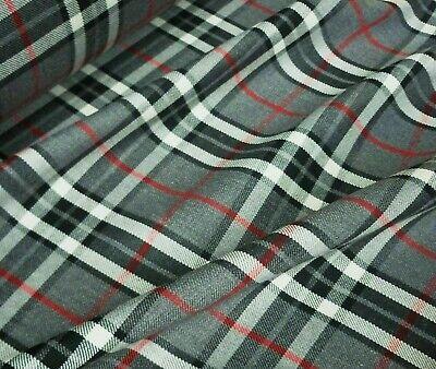 Grey /& Black Poly-Viscose Tartan Yellow Grid Fabric Royal Blue Per Metre