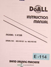 Doall C 410a Band Saw Install Operations And Maintenance Manual