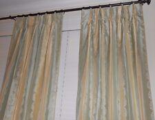 Robert Allen Silk Drapes Stripes small floral Custom Curtains new PAIR