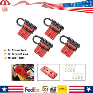 4x 12V Auto Car Battery Quick Connect Disconnect 6awg Plug Winch Connector 50A