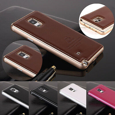 Leather Back Metal Aluminum Frame Case Cover For Samsung Galaxy Note 4 G#Q3
