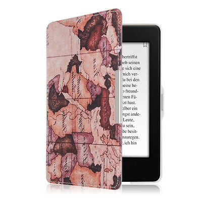 kwmobile Flip Tasche für Amazon Kindle Paperwhite Landkarte Vintage Kunstleder