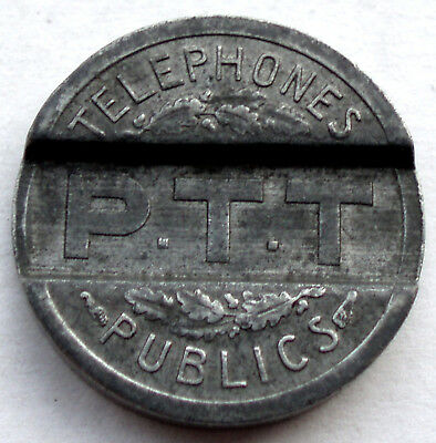 Telephones Publics 6 vintage phone tokens 18mm TF057e France 1937 PTT P.T.T