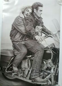 James-Dean-amp-Marilyn-Monroe-on-Motorcycle-Poster-24-034-inches-x-35-5-inches