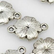 Pack of 10 12x16mm Flower Tibetan Silver Link Spacer Charms Finding Beads