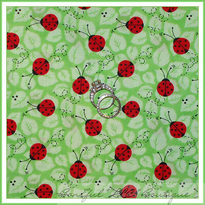 BonEful Fabric Cotton Red Ladybug China Adoption Green Leaf Black Pattern SCRAP