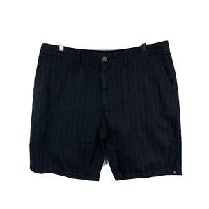 Quiksilver-Mens-Shorts-Size-38-Black-Zip-Closure-Striped-Bermuda-Pockets