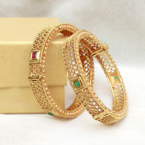 Wedding Party Jewellery Learned Traditional Ethnic Goldtone 2pc Bangle Set Women Bracelet Indian Party Jewellery