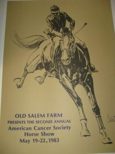 NY 2nd Annual Old Salem Farm Horse Show Poster 1983 Sam Savitt Art North Salem