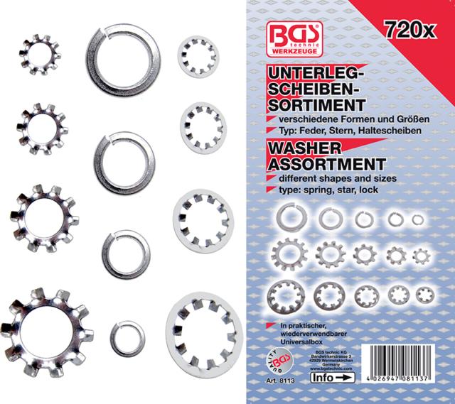 720 PZ rondelle anelli seeger assortiti Kit assortiti minuteria Fermec BGS8113