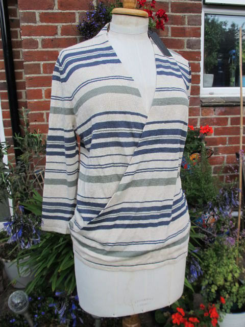 New PAUL COSTELLOE 100% pure LINEN wrap over striped top 3 4 sleeves large bnwt