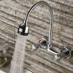 360° Wandarmatur Küchenarmatur Wandmontage Wasserhahn Bad Zweigriffmischer DE
