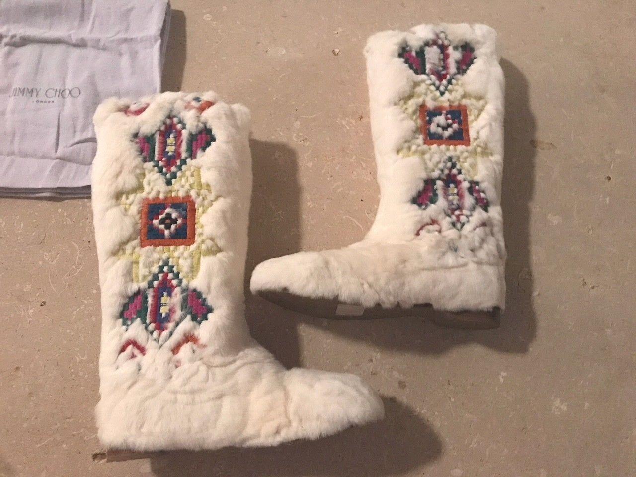 JIMMY CHOO damen LEONE Weiß REX RABBIT FUR Embroiderot Flat Stiefel 41.5 NEW