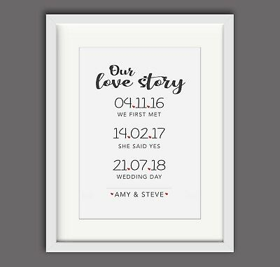personalised love story anniversary a4 print wedding gift print wedding heart
