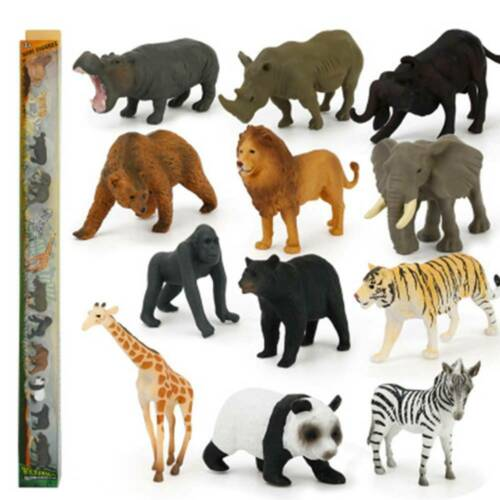 12pcs Kids Toys Small Plastic Figures Sea Zoo Animal Safari Set Wild Ocean Model
