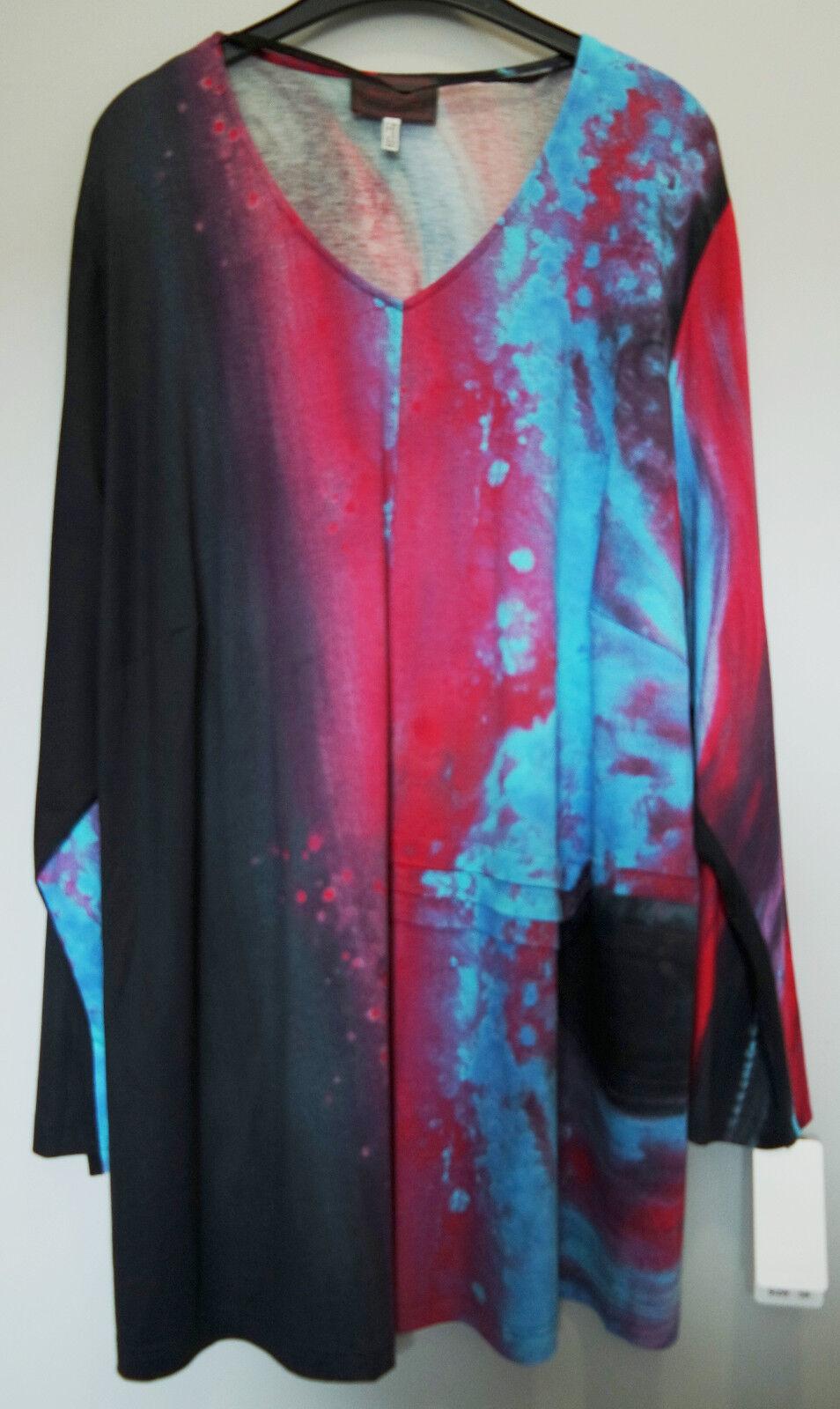 Shirt rot türkis schwarz Gr.48 Marke Sempre Piu by Chalou Viskose rot.1 2 Preis
