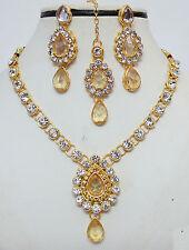 Designer Gold Plated Studded Diamonds Kundan Necklace Earring Tika Jewellery Set