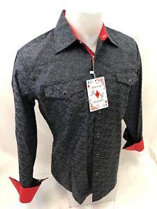 Mens-RODEO-WESTERN-COUNTRY-BLACK-2-POCKET-Long-Sleeve-SNAP-UP-Shirt-Cowboy-1665