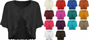 New-Ladies-Frill-Tie-Up-Front-Womens-Stretch-Cardigan-V-Neck-Top-Plus-Size-12-26